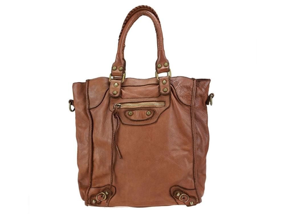 Genoa - washed and naturally dyed leather handbag