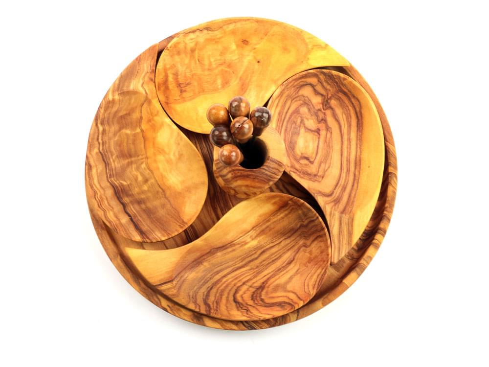 Olive Wood Aperitvo Set - view from above