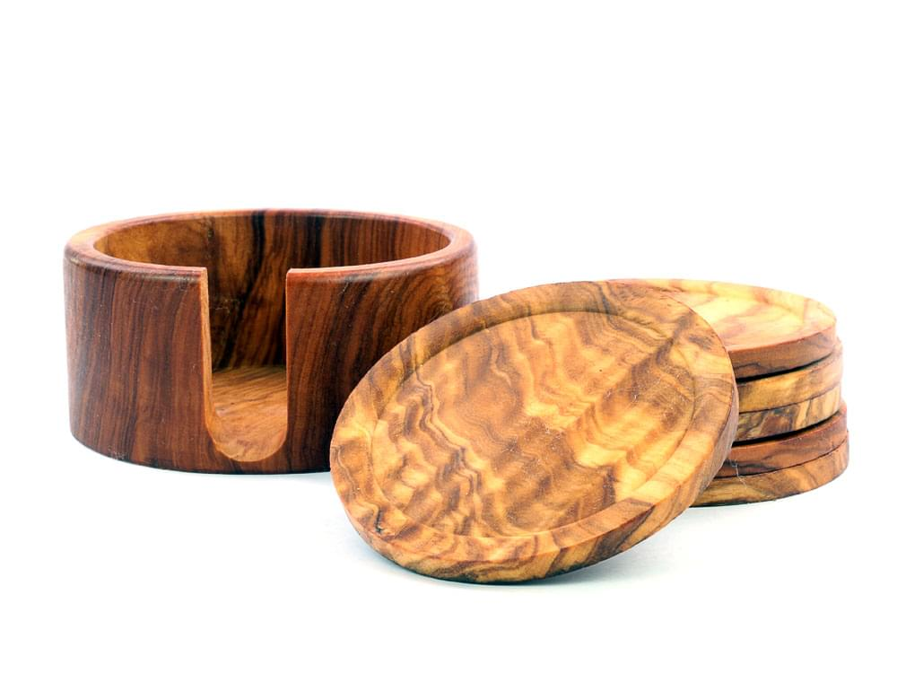 Lifestyle Drinks Set - Olive Wood Coaster Set & Wine Bottle Stand