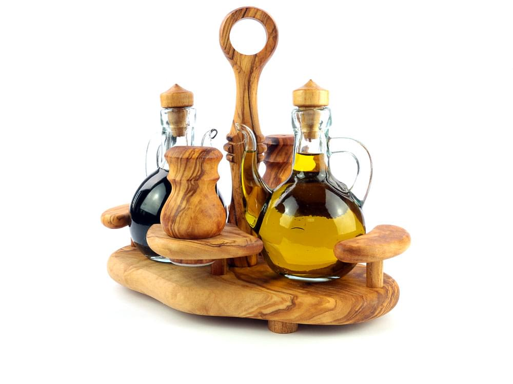 Olive Wood Condiment Set - view 1