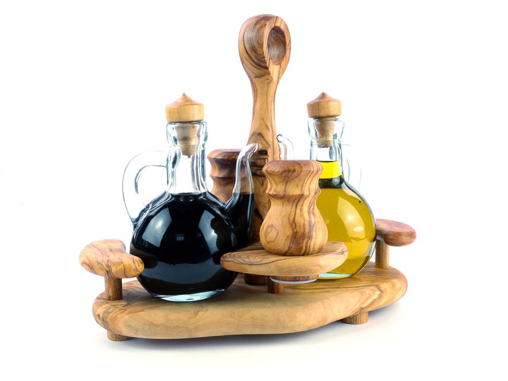 Lifestyle Condiment Set - Olive Wood condiment stand