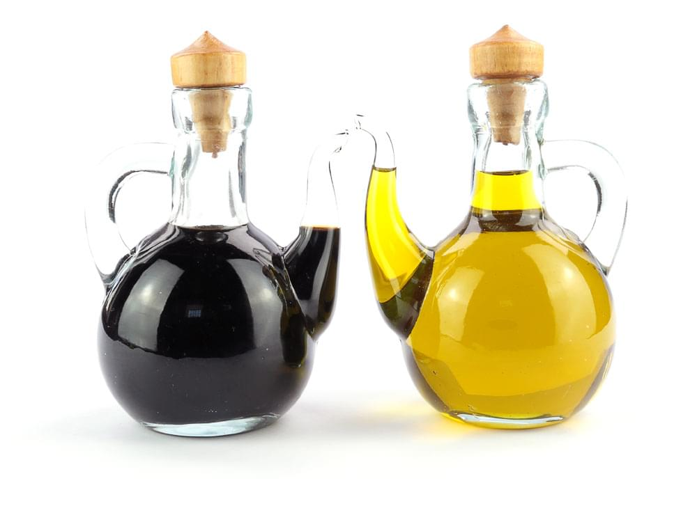The oil and vinegar bottles