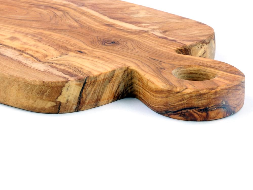 Large Olive Wood Chopping Board - showing the thickness