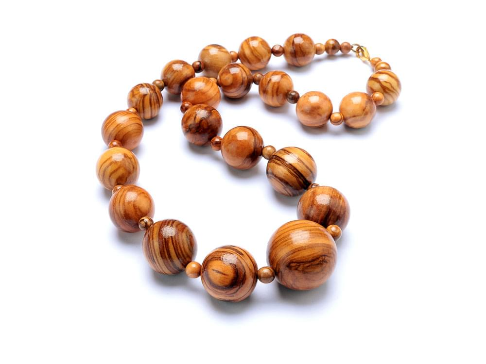 Beads Classic Set with Short Necklace - Olive Wood necklace, bracelet & earrings