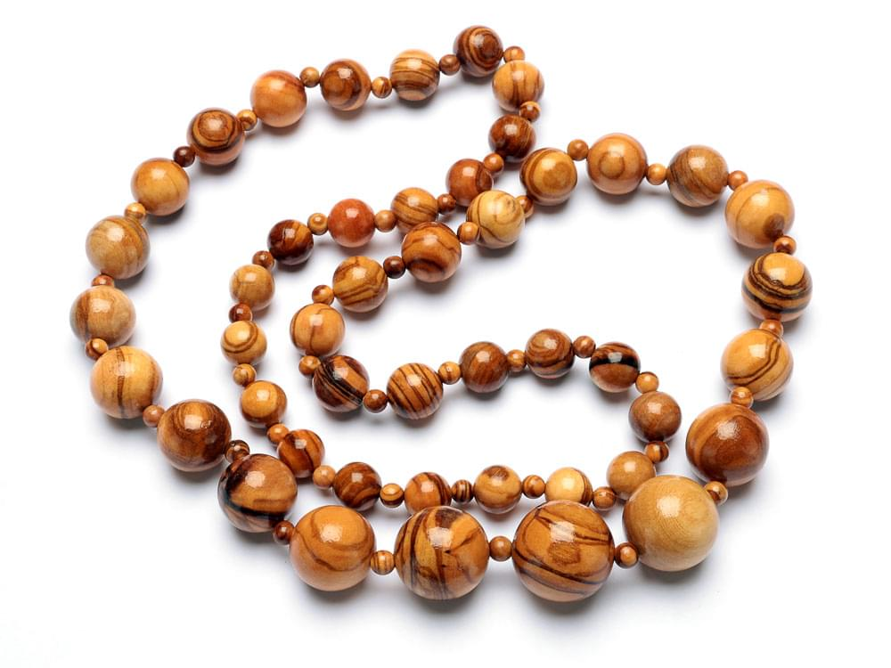 Beads Classic Set with Long Necklace - Olive Wood necklace, bracelet & earrings