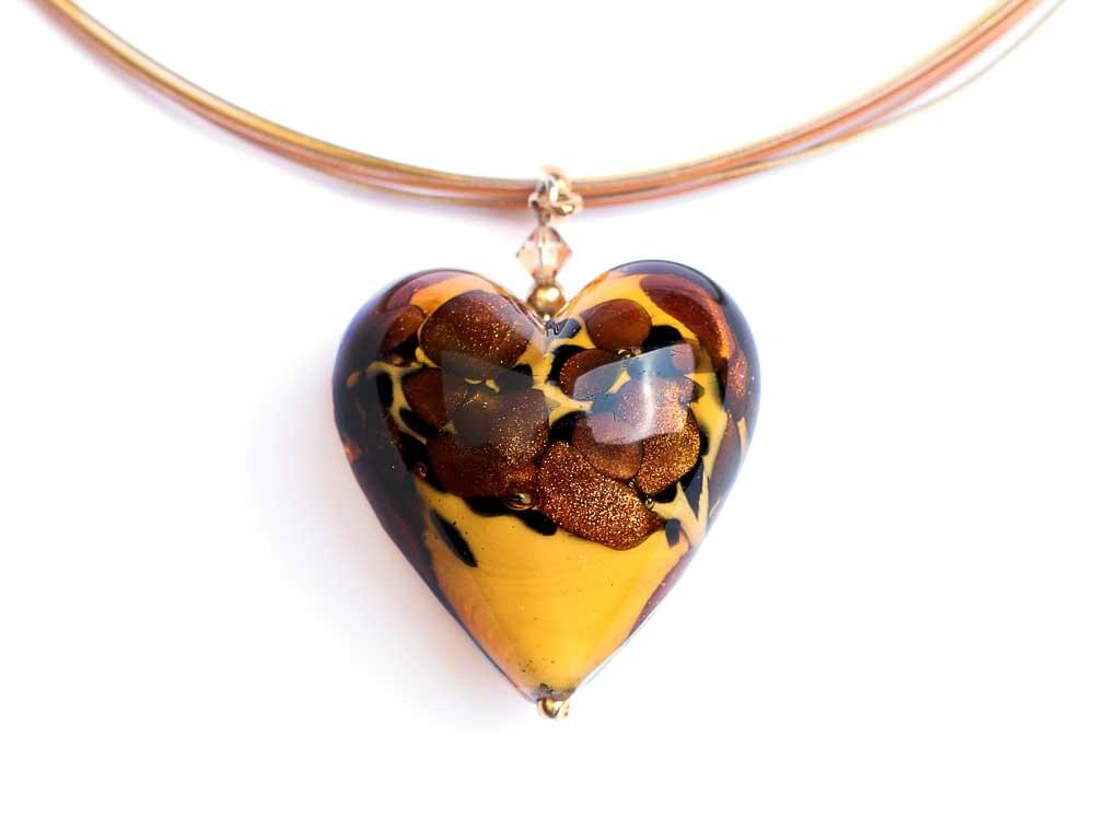 Wild Cheetah Heart Pendant - Murano Glass heart on multi-strand cord