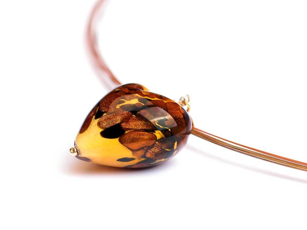 Wild Big Cheetah Heart - Murano Glass heart on multi-strand cord