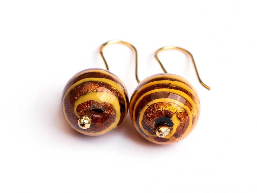 Tigre earrings - Murano glass beads with tiger skin print