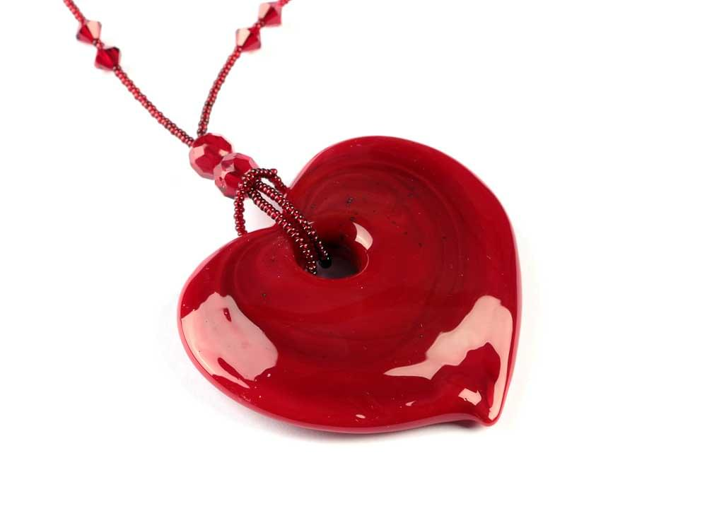 Romantic Big Red Passion Heart - Solid Red Murano Glass pendant