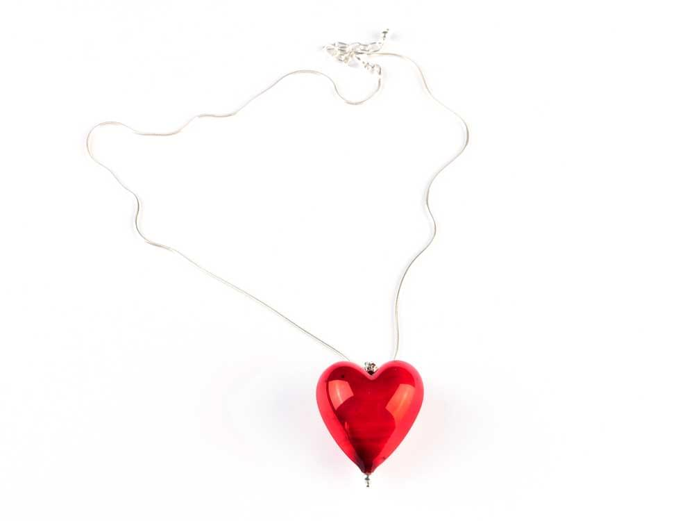 Romantic Sensual Red Venezia Heart - Murano Glass heart on silver snake chain