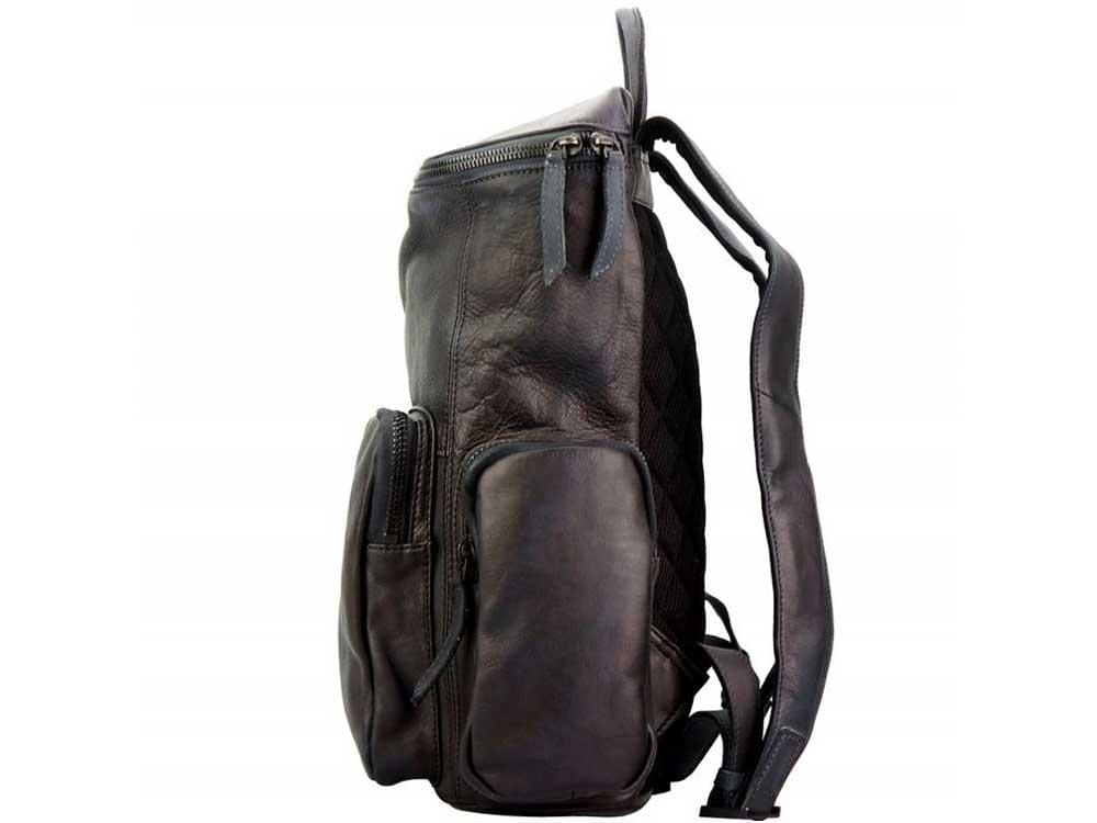 Ercolano - black, vintage calfskin backpack - side view