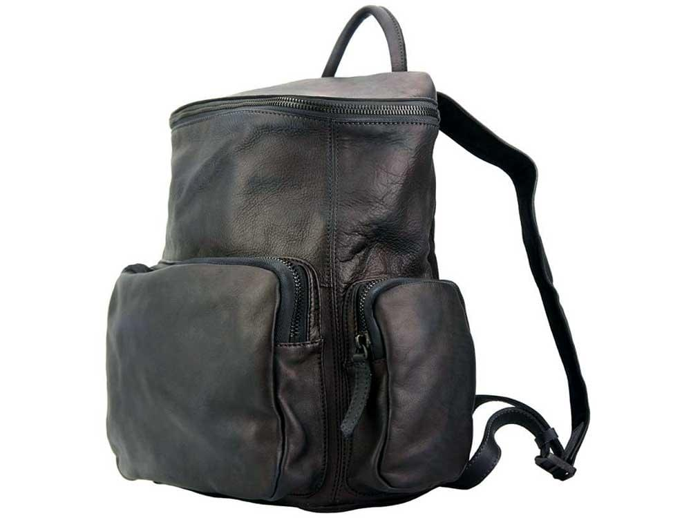 Ercolano - black, vintage calfskin backpack - showing both the handle and the backpack straps