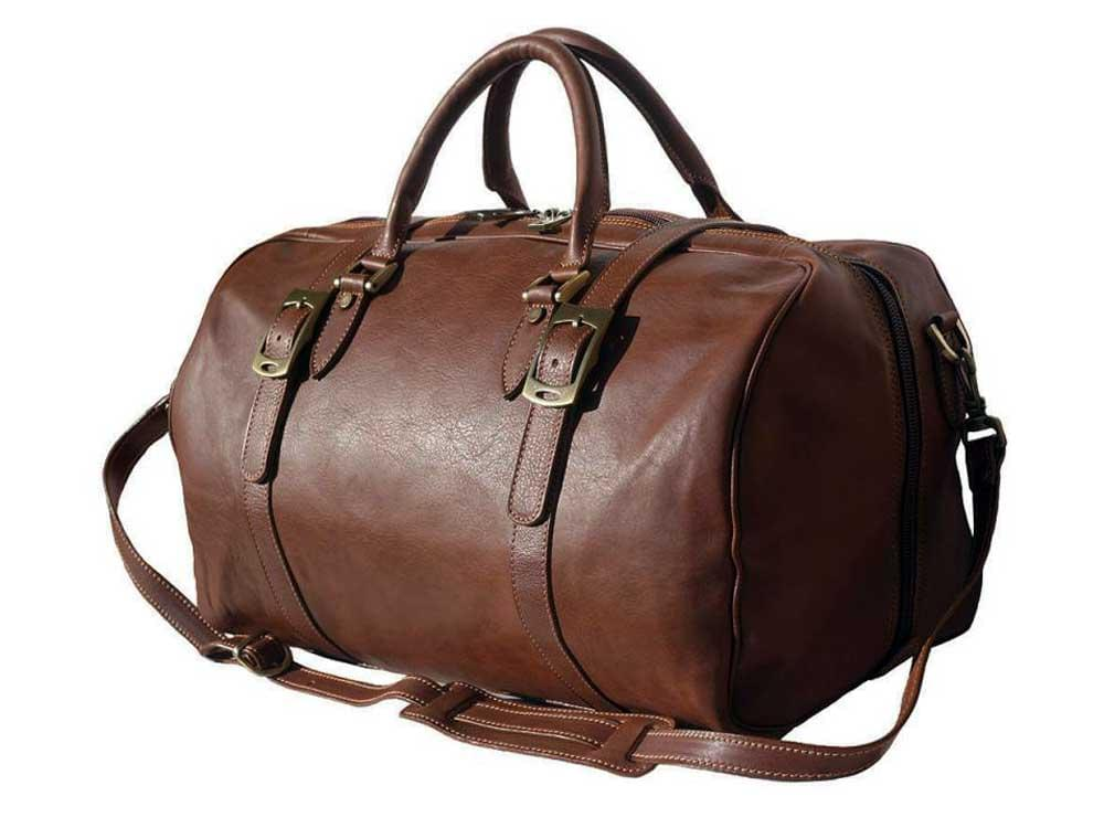 Latina (brown) - genuine Italian leather travel bag - with the shoulder strap attached