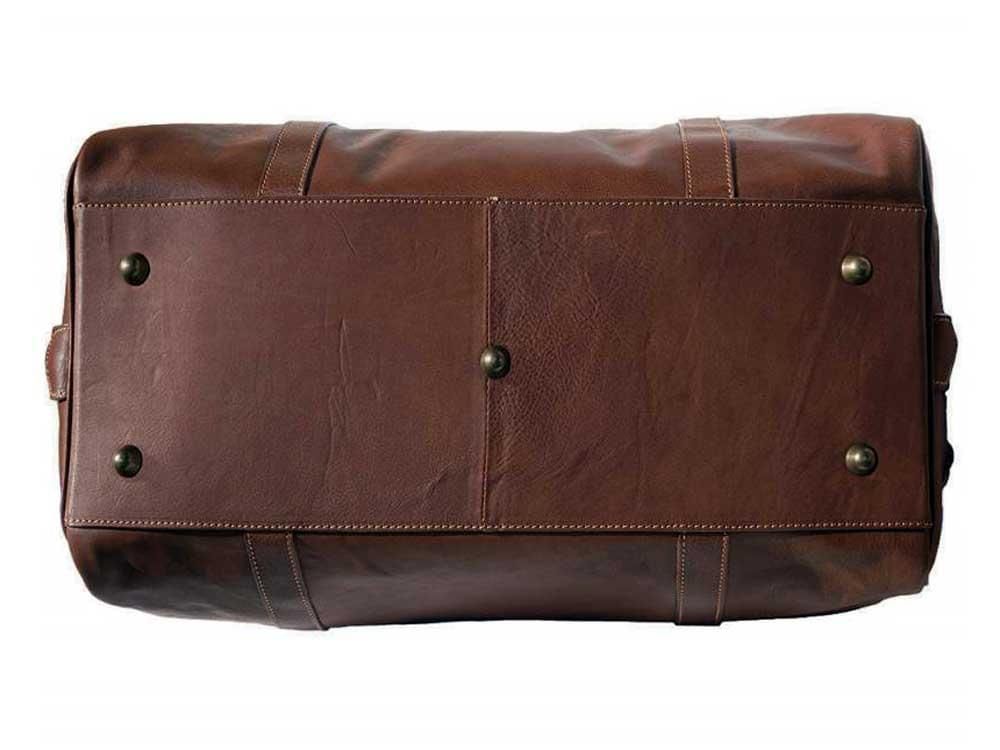 Latina (brown) - genuine Italian leather travel bag - base, showing the five protective studs