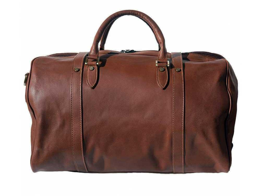 Latina (brown)  - genuine Italian leather travel bag - back view