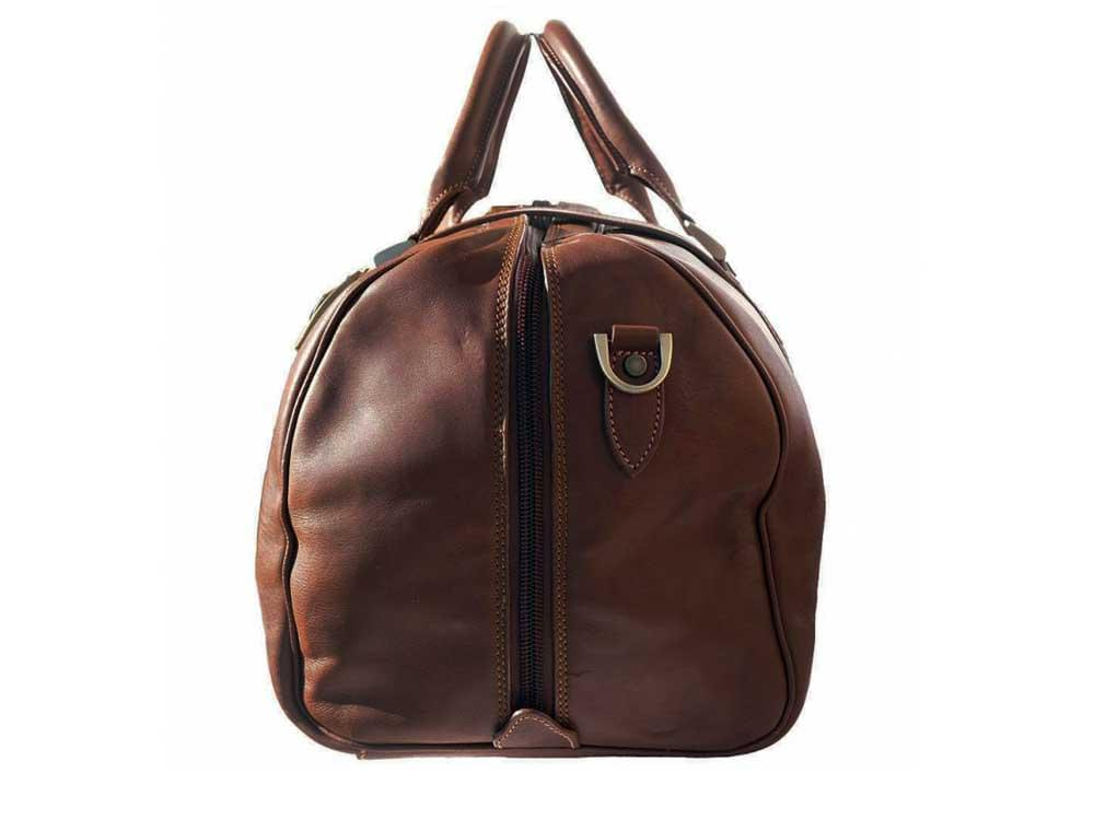 Latina (brown)  - genuine Italian leather travel bag - side view