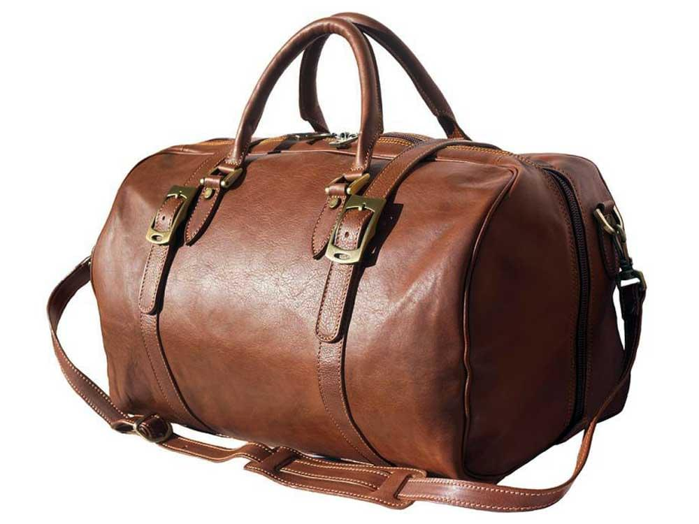 Latina (tan) - genuine Italian leather travel bag - with the shoulder strap