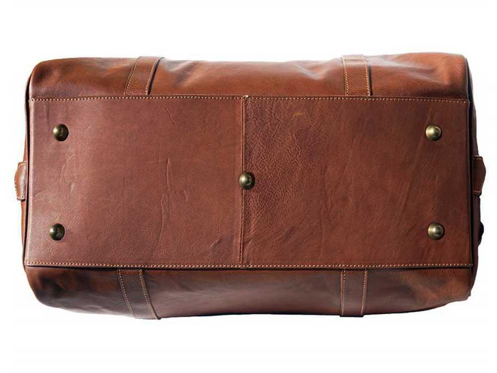 Latina (tan) - genuine Italian leather travel bag - the base, showing the five protective, metal studs