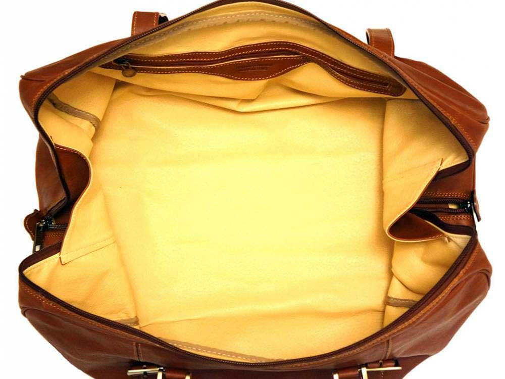 Latina (tan) - genuine Italian leather travel bag - showing the spacious interior