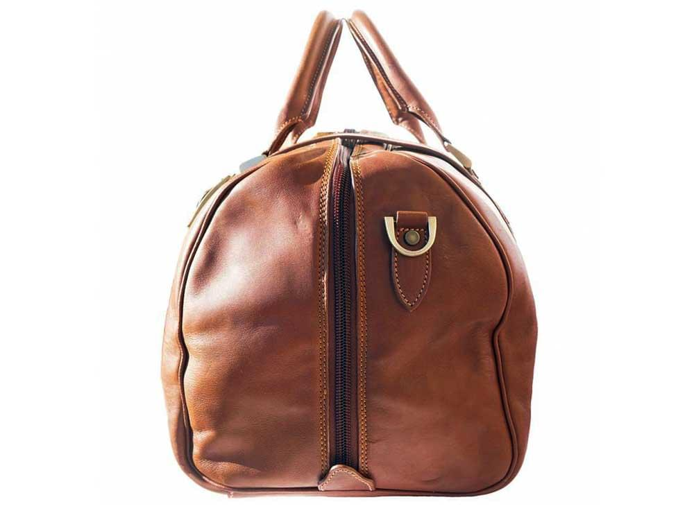 Latina (tan) - genuine Italian leather travel bag - side view