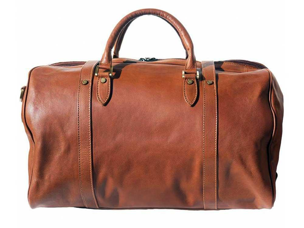 Latina (tan) - genuine Italian leather travel bag - back view