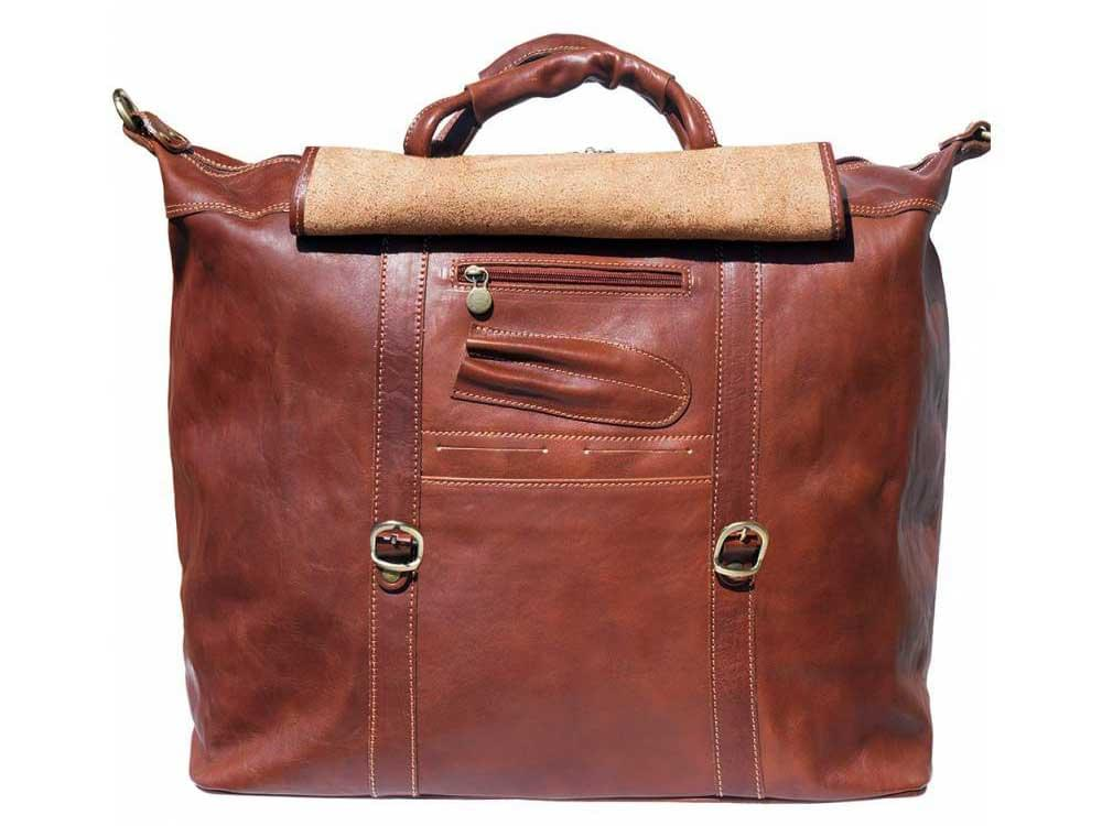 Jesi (brown) - ideal for air travel and weekends away - showing the storage compartments underneath the front flap