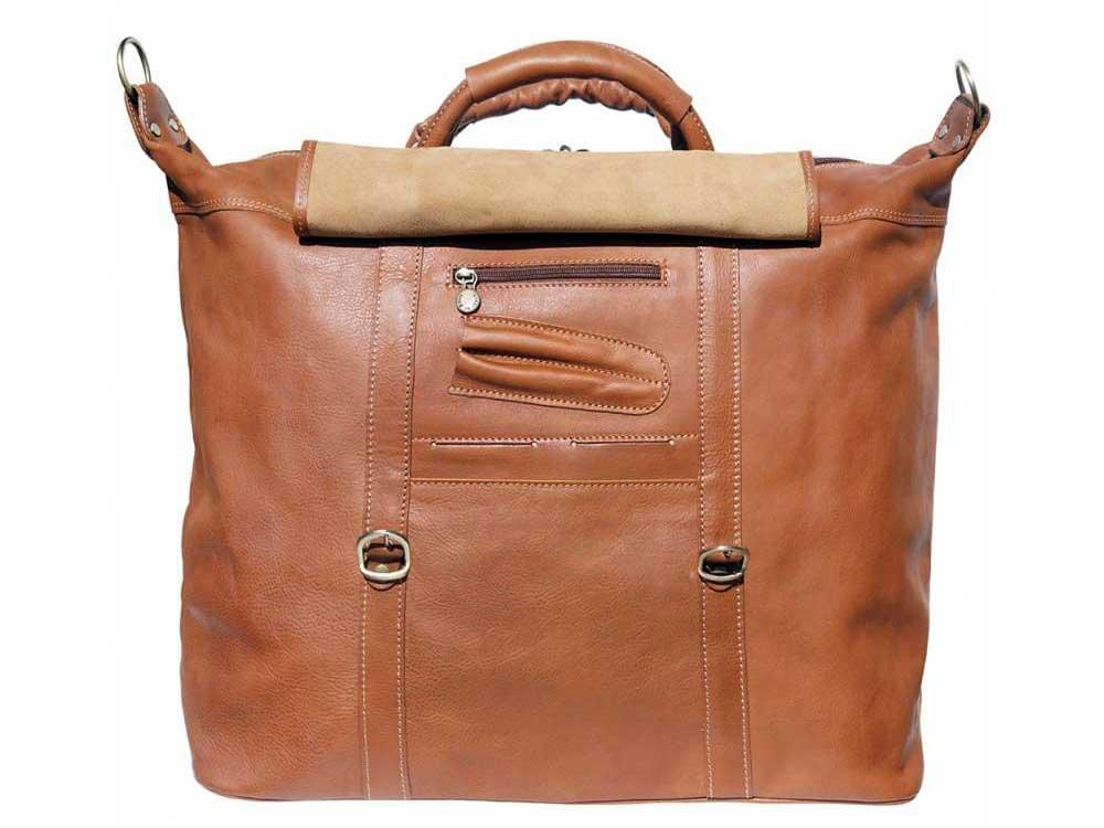 Jesi (tan) - ideal for air travel and weekends away - showing the pockets and compartments underneath the front flap