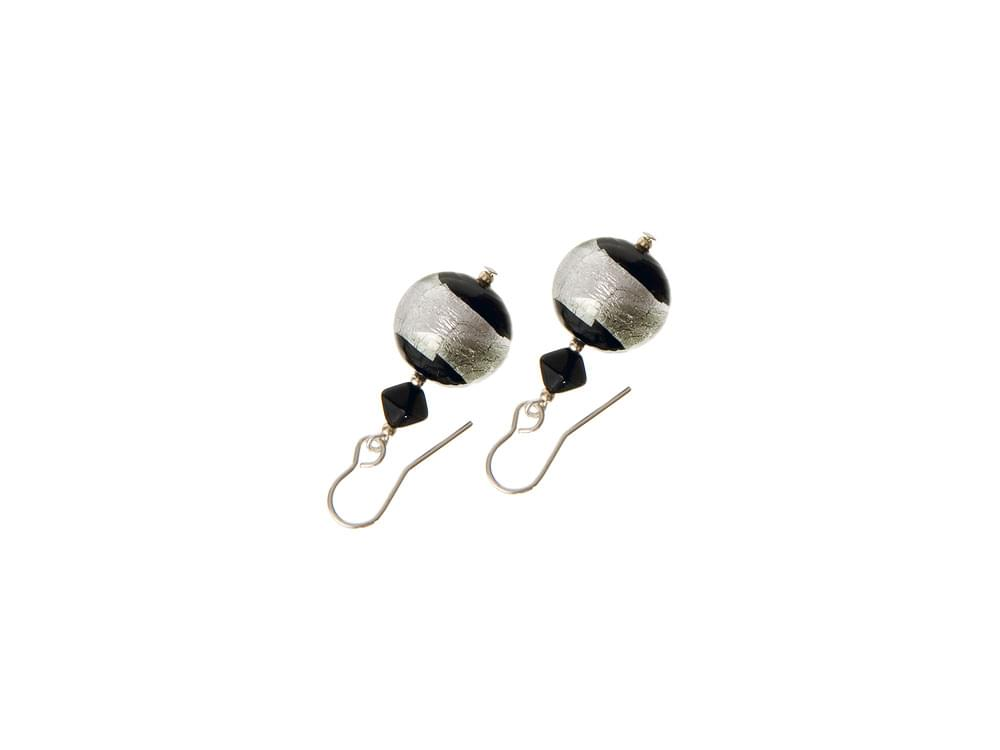 Ice Blizzard Earrings - Icy black and white Murano Glass beads