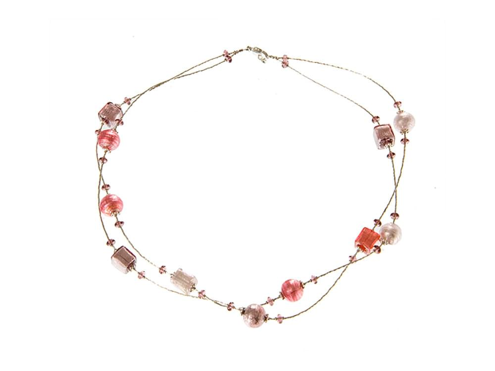 Amore - necklace with a double strand of genuine Murano glass pink beads