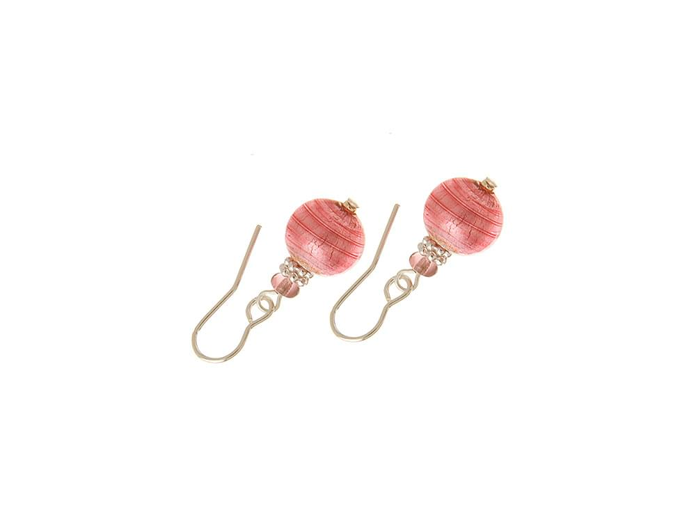 Amore - pink Murano glass bead earrings