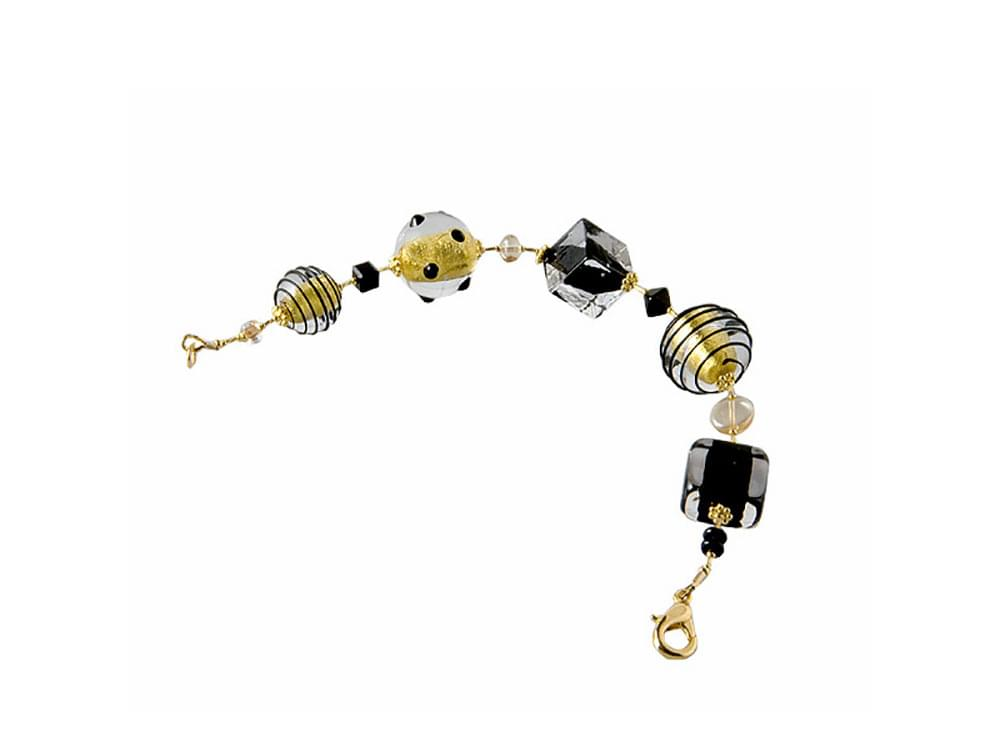 Night Sky Murano glass jewellery, silver necklaces, gold bracelets, gold and black earrings, galaxy designs