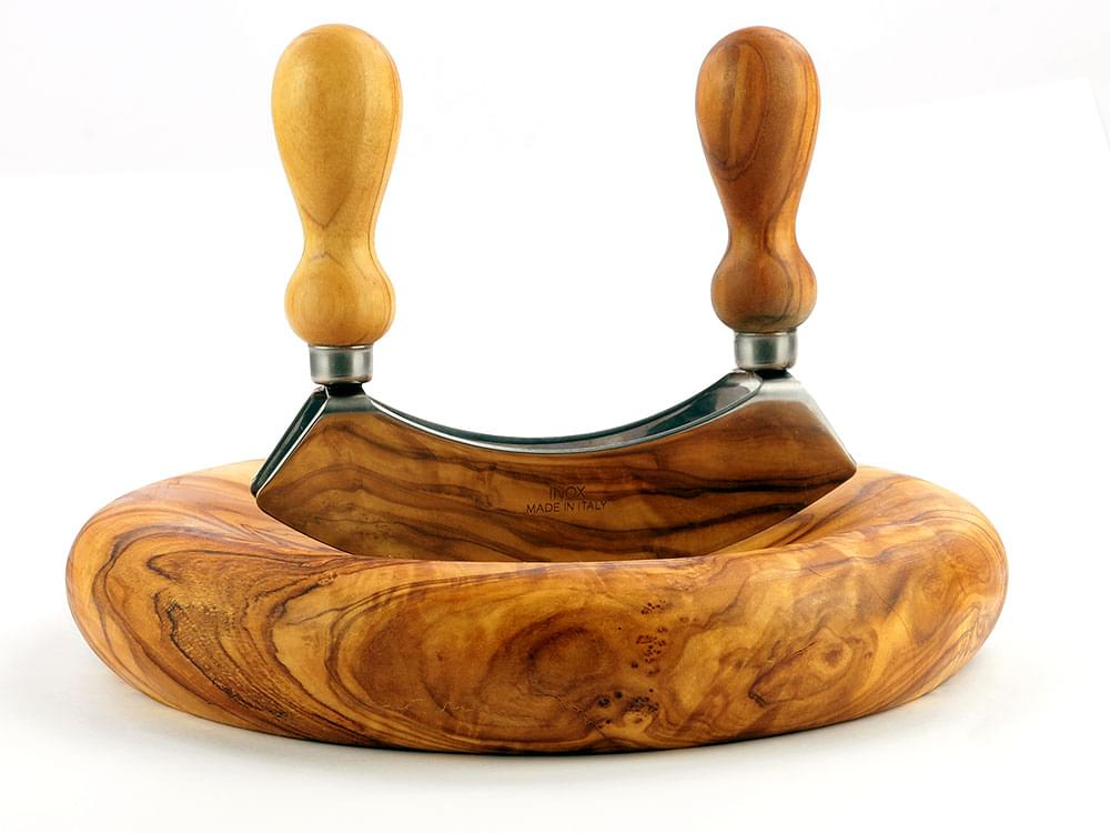 Mezzaluna and matching olive wood base