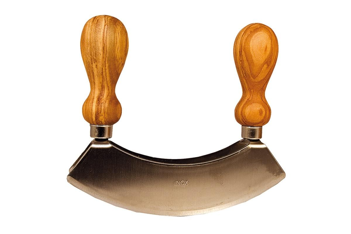 Stainless steel mezzaluna with double olive wood handles