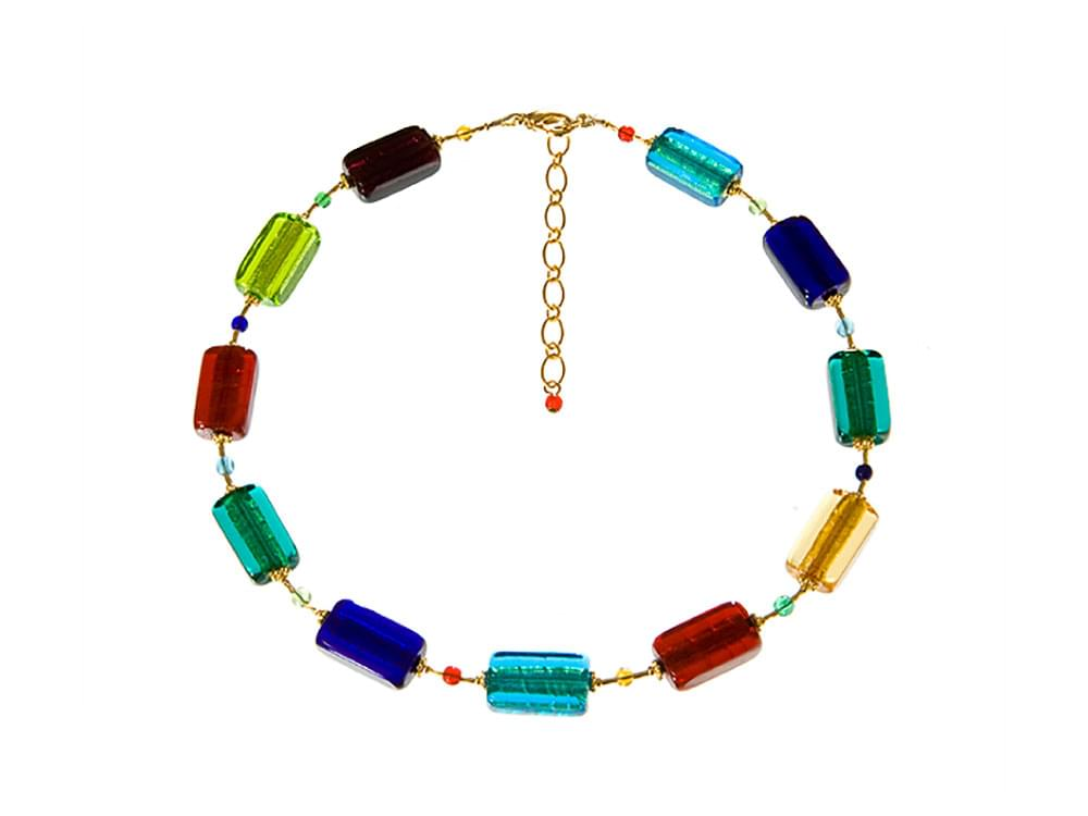 Traditional Murano glass necklaces, bracelets, earrings, modern designs, made in Venice