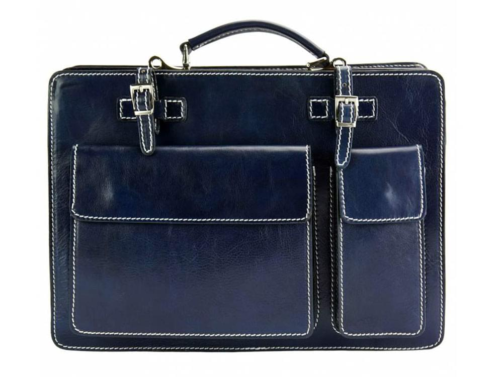 Viterbo (dark blue) - Italian waterproof leather briefcase