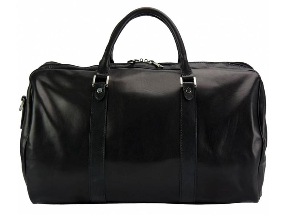 Portofino (black) - luxurious, soft leather travel bag - back view