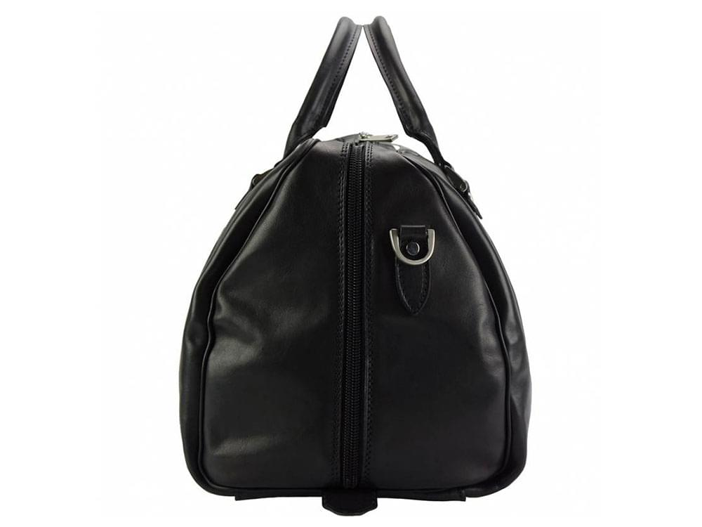 Portofino (black) - luxurious, soft leather travel bag - side view