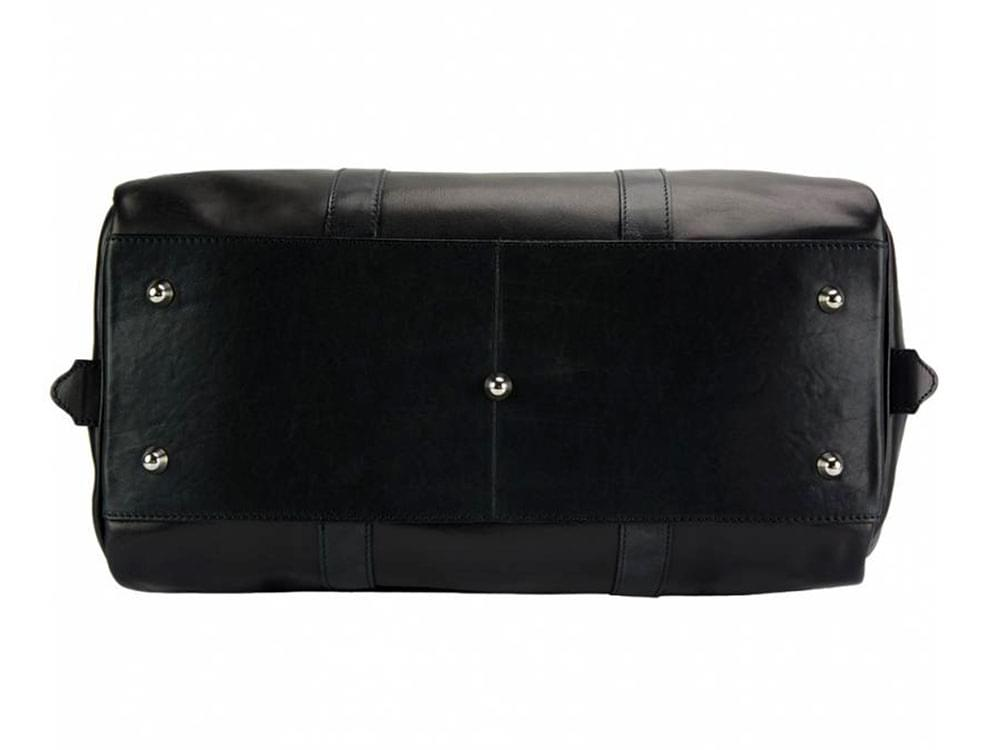 Portofino (black) - luxurious, soft leather travel bag - the base, showing the five protective metal studs