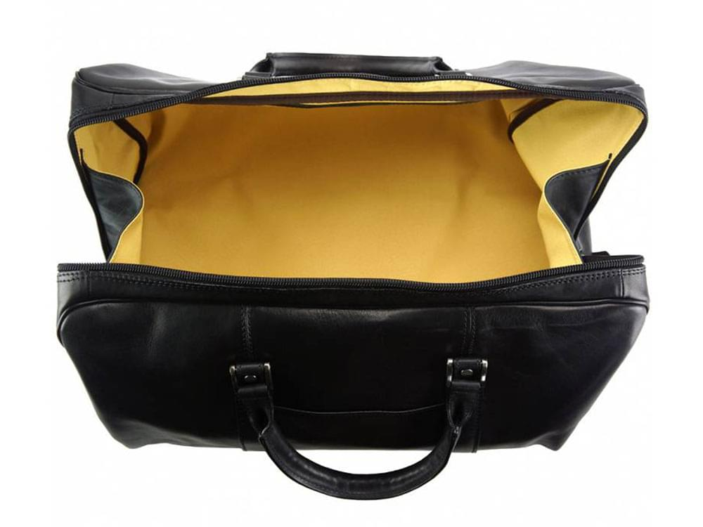 Portofino (black) - luxurious, soft leather travel bag - showing the interior