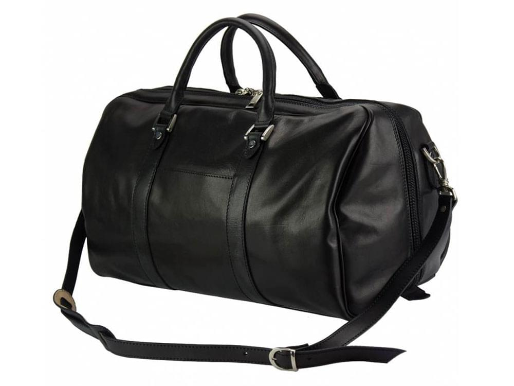 Portofino (black) - luxurious, soft leather travel bag - with the shoulder strap attached