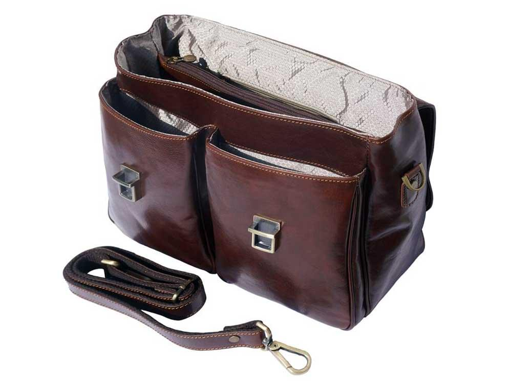 Monfalcone - traditional calf leather briefcase - showing under the flap, inside and the detachable shoulder strap