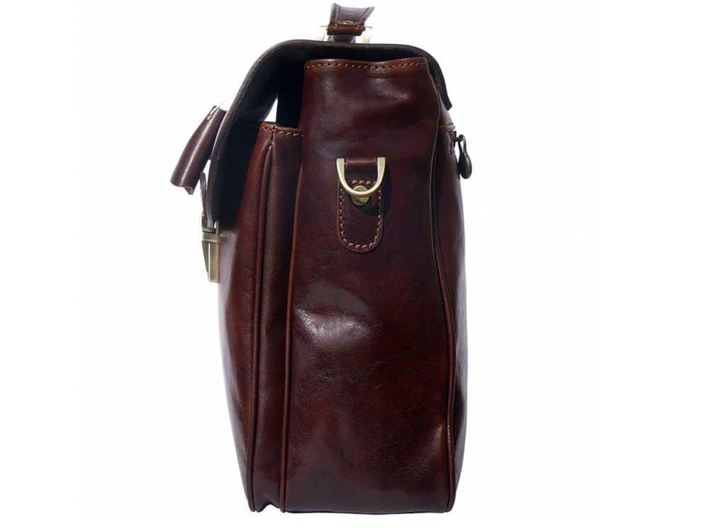 Monfalcone - traditional calf leather briefcase - side view