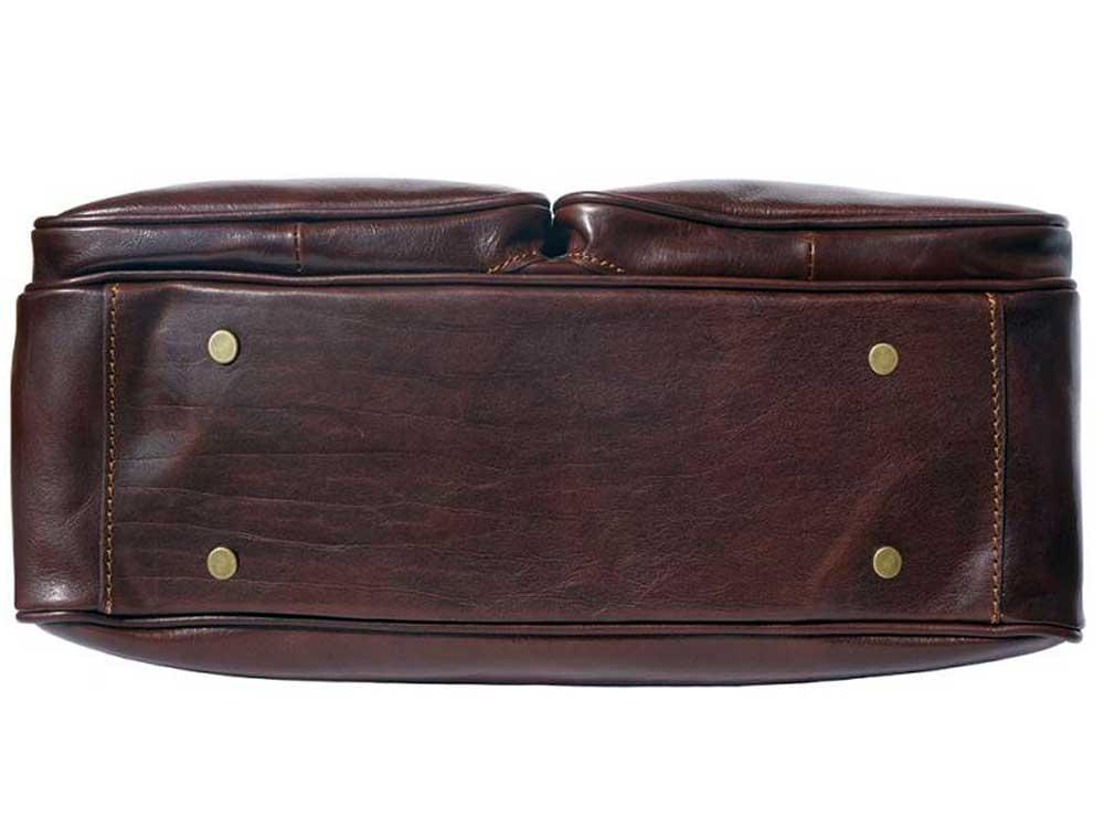 Monfalcone - traditional calf leather briefcase - showing the protective studs on the base