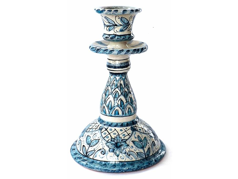 Fogliame Minore - blue and white candlestick made on the island of Sicily in the traditional manner