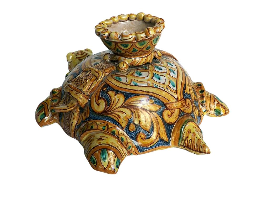 Painted Turtle candle holder - hand made ceramics from Sicily