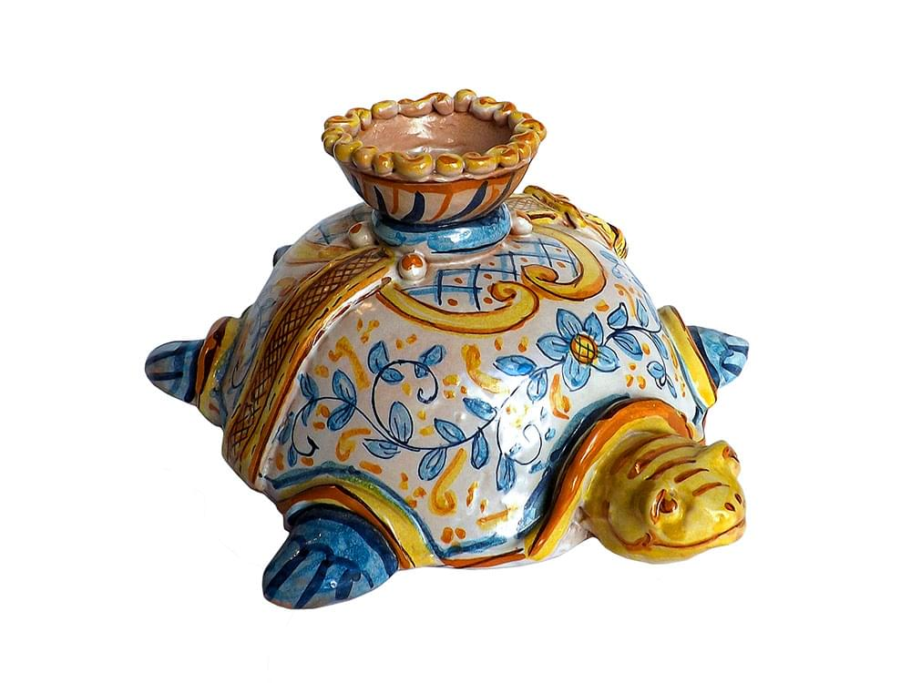 Caretta Turtle candle holder - hand made ceramics from Sicily