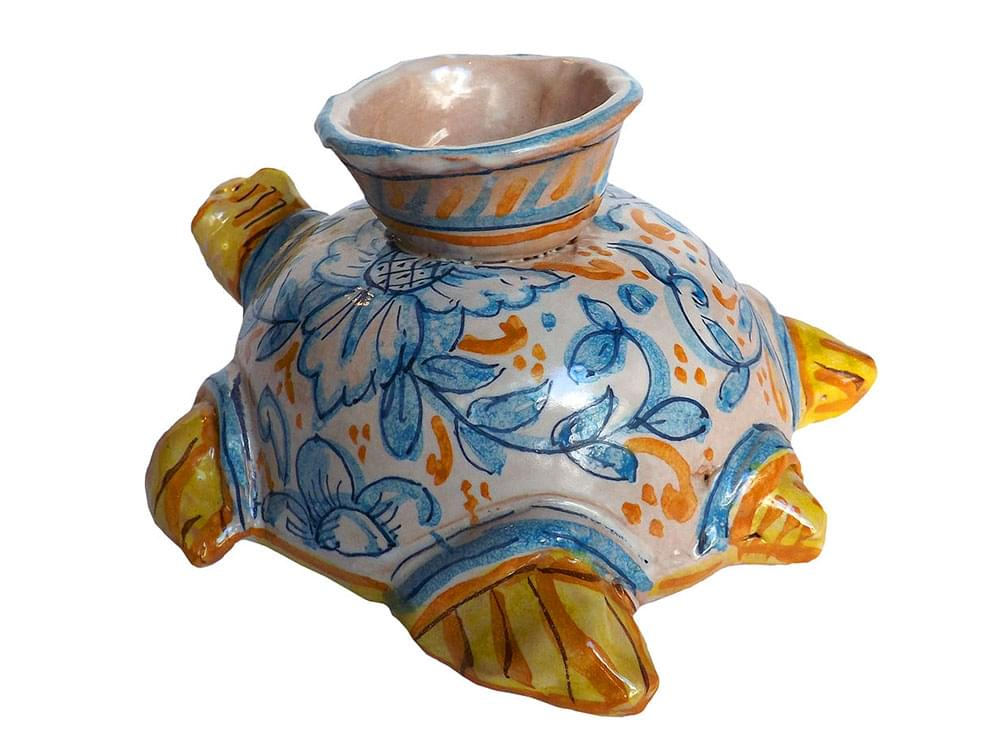 Chelonia Turtle candle holder - hand made ceramics from Sicily