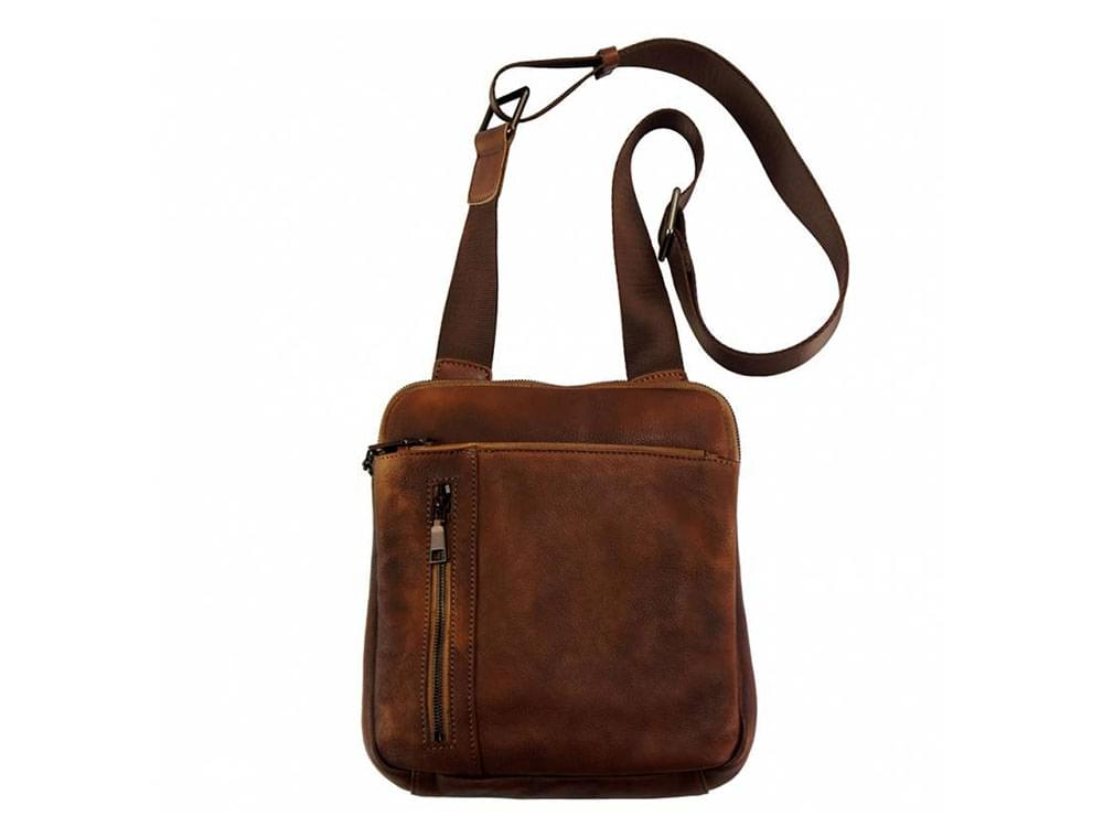 Genoa (brown) - vintage leather cross-body bag- front view showing the length of the strap