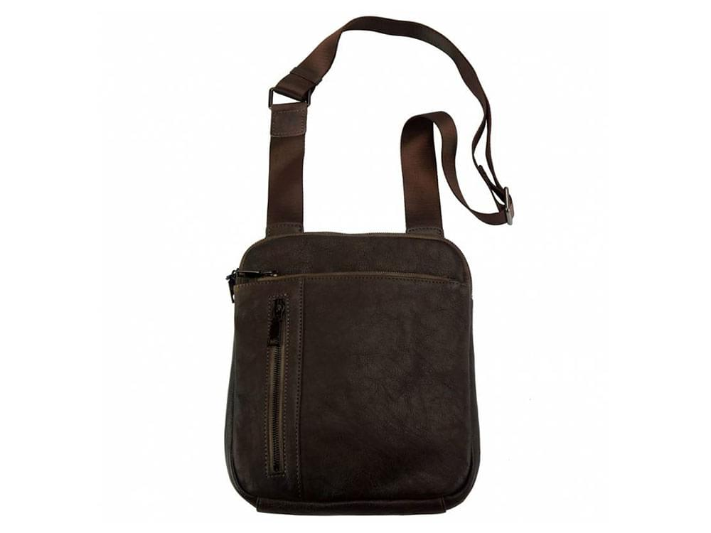 Genoa (dark brown) - vintage leather cross-body bag