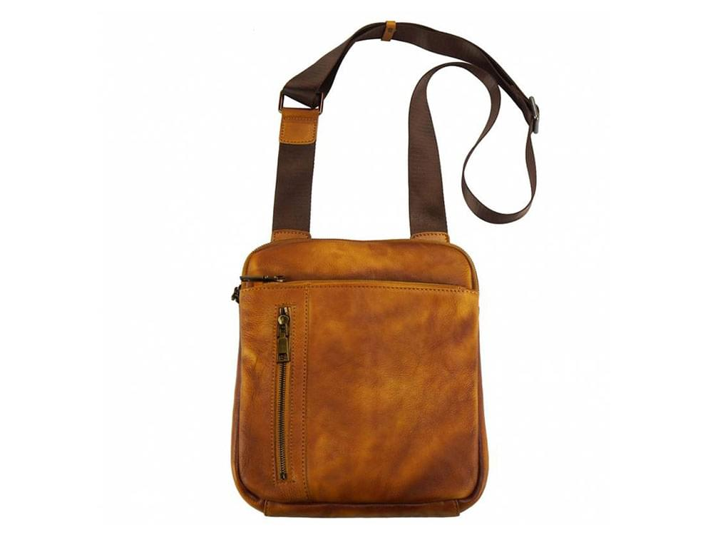 Genoa (tan) - vintage leather cross-body bag- showing the length of the strap